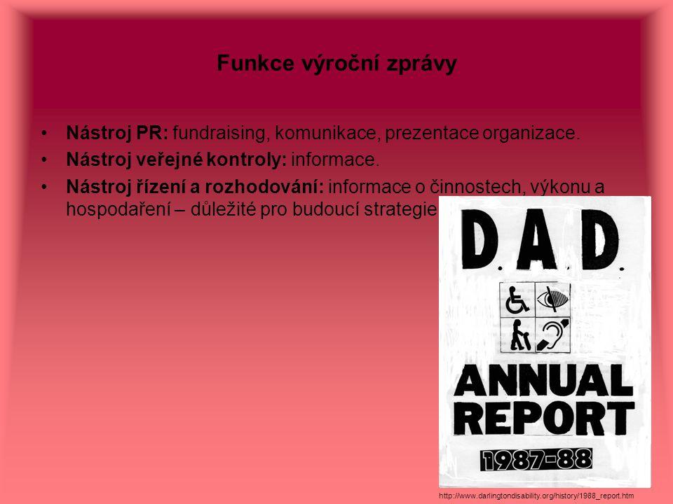 Funkce výroční zprávy Nástroj PR: fundraising, komunikace, prezentace organizace. Nástroj veřejné kontroly: informace. Nástroj řízení a rozhodování: i