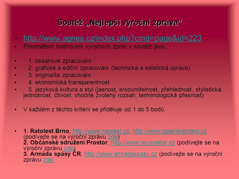 """Soutěž """"Nejlepší výroční zpráva"""" http://www.agnes.cz/index.php?cmd=page&id=223 Předmětem hodnocení výročních zpráv v soutěži jsou: 1. obsahové zpracov"""