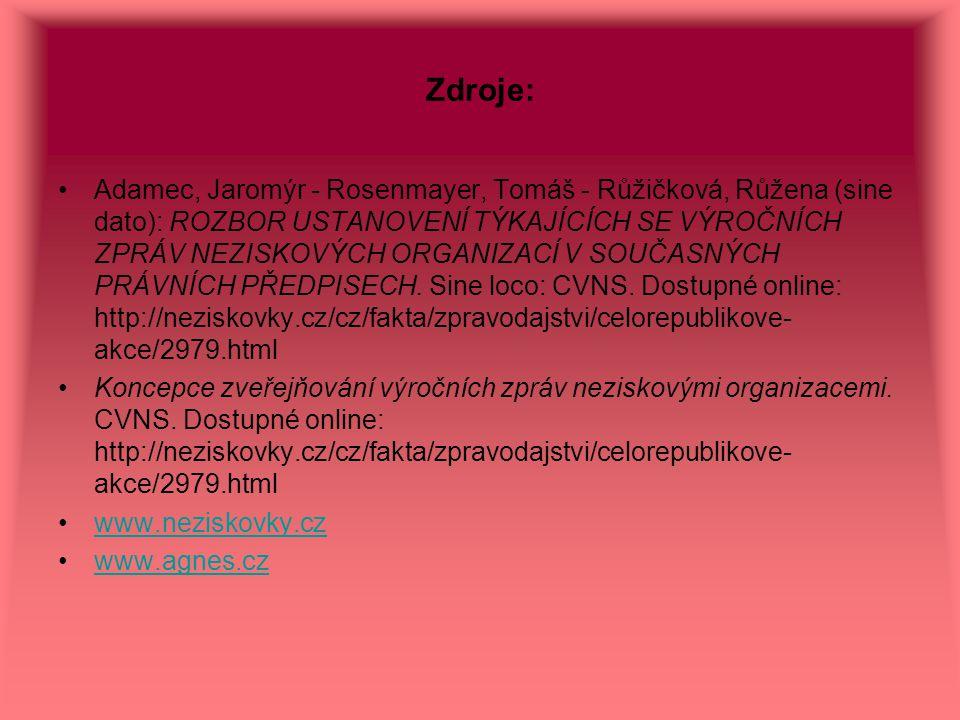 Zdroje: Adamec, Jaromýr - Rosenmayer, Tomáš - Růžičková, Růžena (sine dato): ROZBOR USTANOVENÍ TÝKAJÍCÍCH SE VÝROČNÍCH ZPRÁV NEZISKOVÝCH ORGANIZACÍ V
