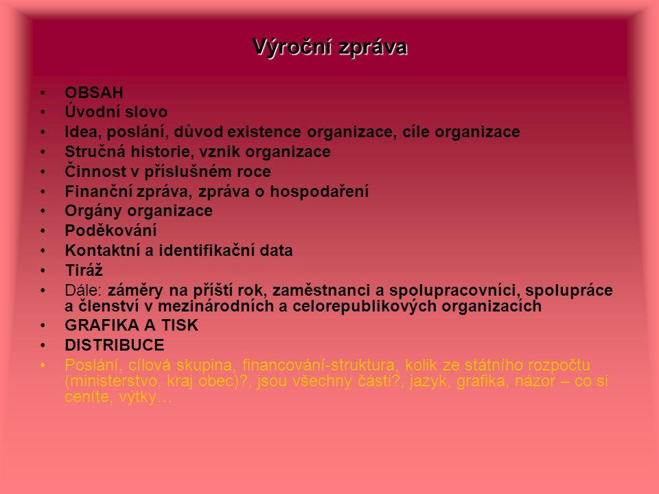 Výroční zpráva OBSAH Úvodní slovo Idea, poslání, důvod existence organizace, cíle organizace Stručná historie, vznik organizace Činnost v příslušném r