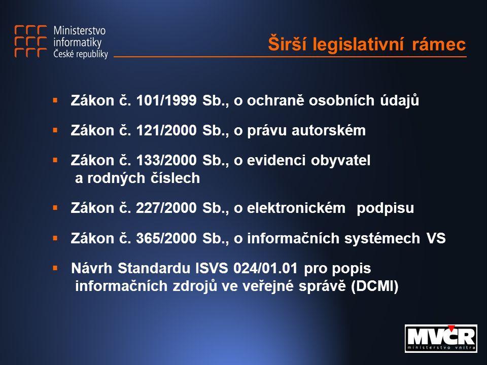 Širší legislativní rámec  Zákon č. 101/1999 Sb., o ochraně osobních údajů  Zákon č.