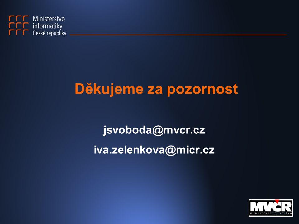 Děkujeme za pozornost jsvoboda@mvcr.cz iva.zelenkova@micr.cz