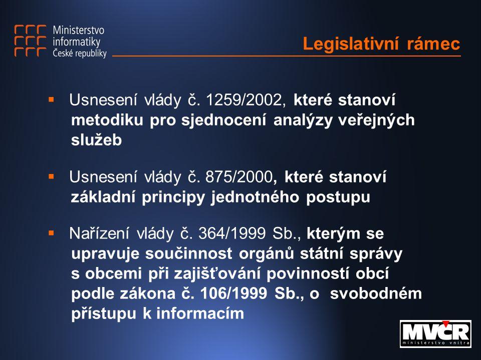 Legislativní rámec  Usnesení vlády č.