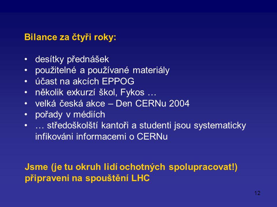 12 Bilance za čtyři roky: desítky přednášek použitelné a používané materiály účast na akcích EPPOG několik exkurzí škol, Fykos … velká česká akce – Den CERNu 2004 pořady v médiích … středoškolští kantoři a studenti jsou systematicky infikováni informacemi o CERNu Jsme (je tu okruh lidí ochotných spolupracovat!) připraveni na spouštění LHC