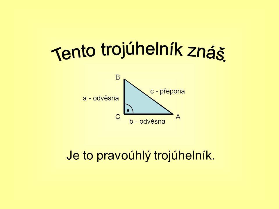 Je to pravoúhlý trojúhelník. CA B c - přepona a - odvěsna b - odvěsna