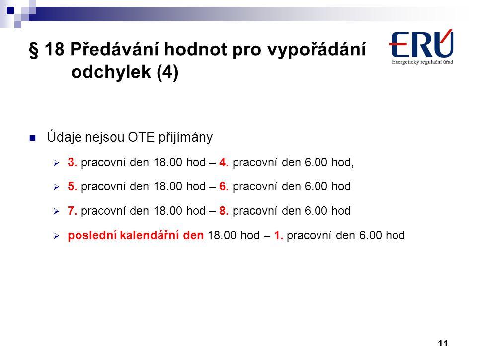 11 § 18 Předávání hodnot pro vypořádání odchylek (4) Údaje nejsou OTE přijímány  3. pracovní den 18.00 hod – 4. pracovní den 6.00 hod,  5. pracovní