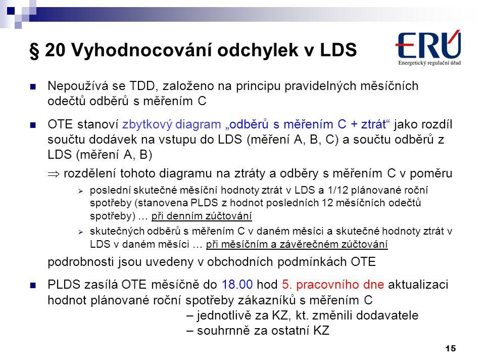 15 § 20 Vyhodnocování odchylek v LDS Nepoužívá se TDD, založeno na principu pravidelných měsíčních odečtů odběrů s měřením C OTE stanoví zbytkový diag