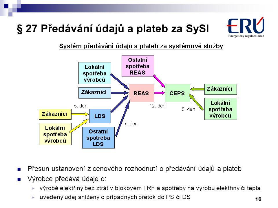16 § 27 Předávání údajů a plateb za SySl Přesun ustanovení z cenového rozhodnutí o předávání údajů a plateb Výrobce předává údaje o:  výrobě elektřin