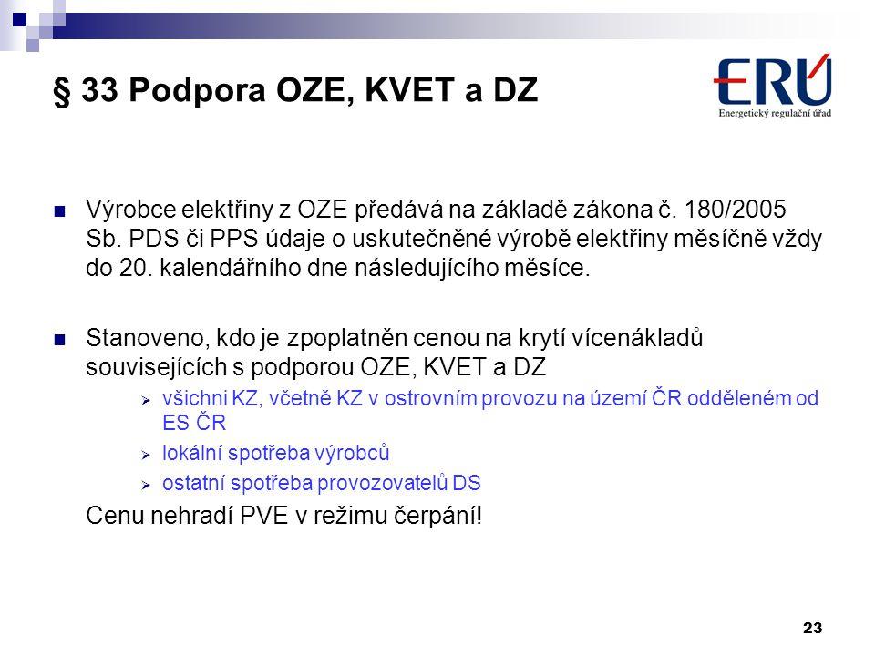 23 § 33 Podpora OZE, KVET a DZ Výrobce elektřiny z OZE předává na základě zákona č. 180/2005 Sb. PDS či PPS údaje o uskutečněné výrobě elektřiny měsíč