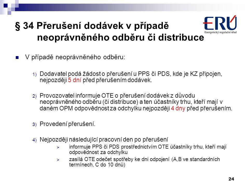 24 § 34 Přerušení dodávek v případě neoprávněného odběru či distribuce V případě neoprávněného odběru: 1) Dodavatel podá žádost o přerušení u PPS či P