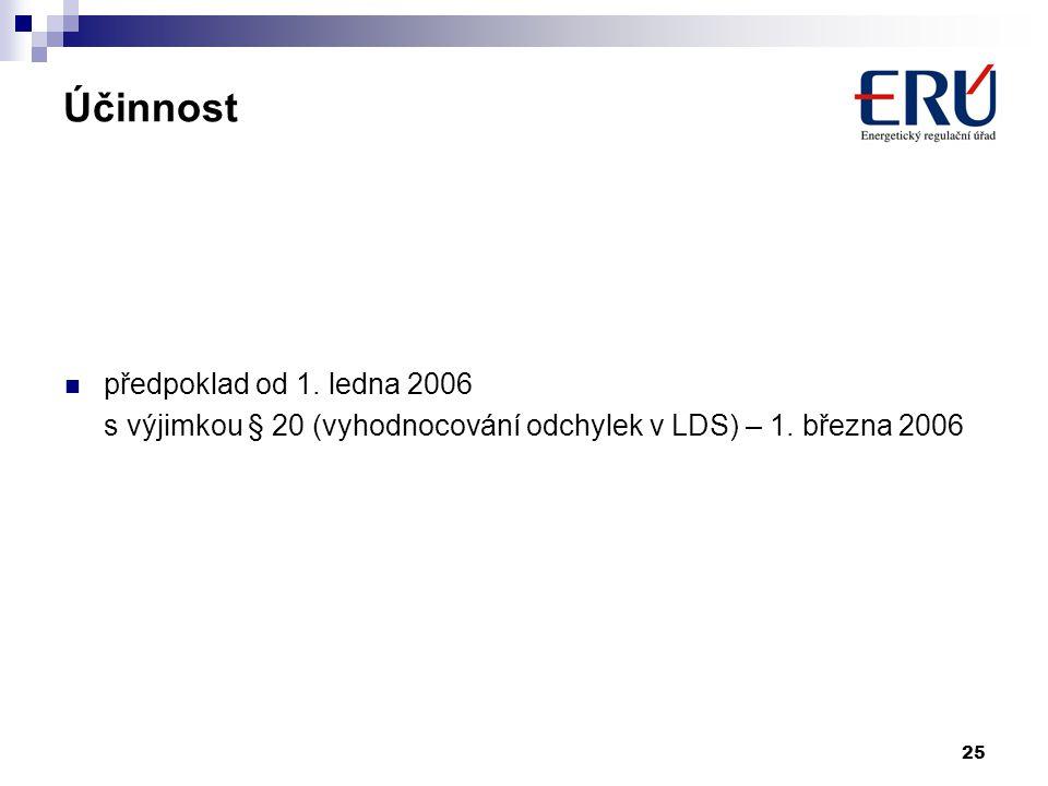 25 Účinnost předpoklad od 1. ledna 2006 s výjimkou § 20 (vyhodnocování odchylek v LDS) – 1. března 2006