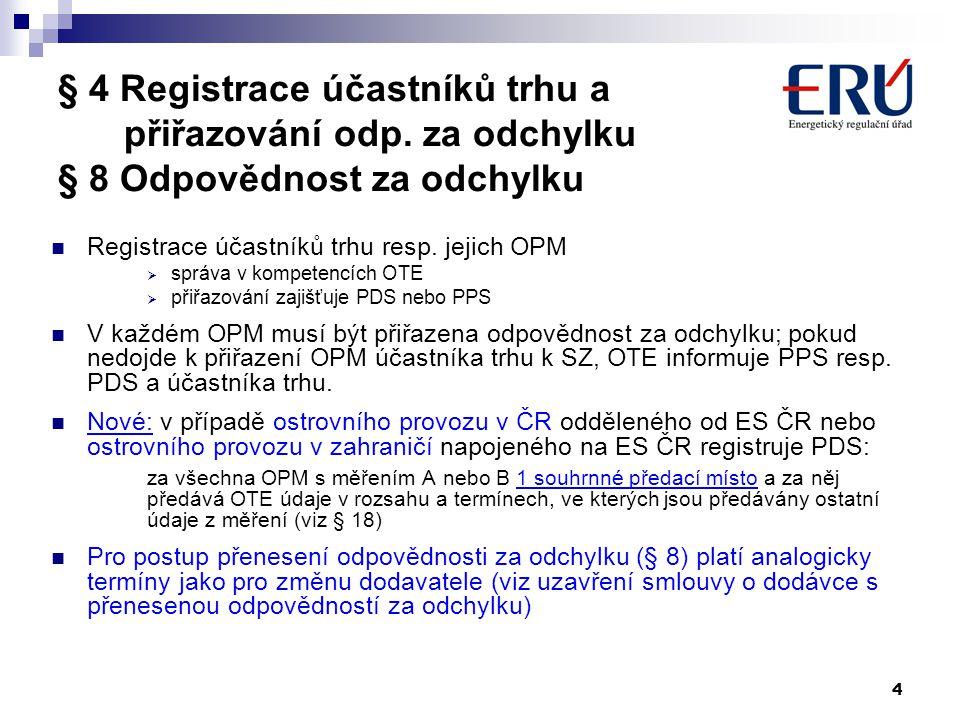 4 § 4 Registrace účastníků trhu a přiřazování odp. za odchylku § 8 Odpovědnost za odchylku Registrace účastníků trhu resp. jejich OPM  správa v kompe