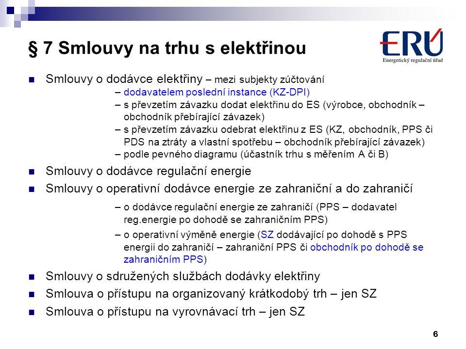 6 § 7 Smlouvy na trhu s elektřinou Smlouvy o dodávce elektřiny – mezi subjekty zúčtování – dodavatelem poslední instance (KZ-DPI) – s převzetím závazk