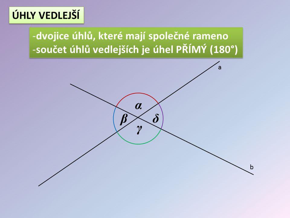 α β γ δ a b ÚHLY VEDLEJŠÍ -dvojice úhlů, které mají společné rameno -součet úhlů vedlejších je úhel PŘÍMÝ (180°) -dvojice úhlů, které mají společné ra