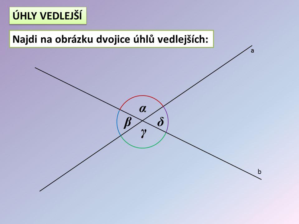 α β γ δ a b ÚHLY VRCHOLOVÉ -dvojice úhlů, které mají společný jen vrchol -úhly vrcholové mají stejnou velikost -dvojice úhlů, které mají společný jen vrchol -úhly vrcholové mají stejnou velikost