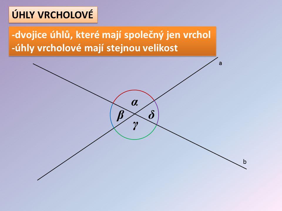 α β γ δ a b ÚHLY VRCHOLOVÉ Najdi na obrázku dvojice úhlů vrcholových: