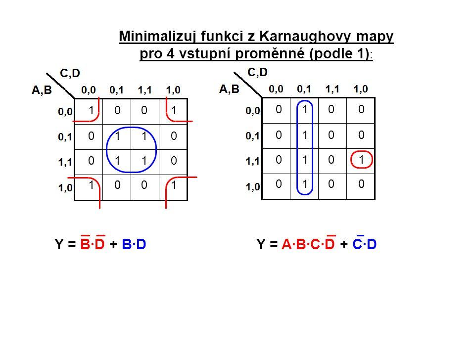0100 0100 0101 0100 1001 0110 0110 1001 Minimalizuj funkci z Karnaughovy mapy pro 4 vstupní proměnné (podle 1) : Y = B·D + B·DY = A·B·C·D + C·D