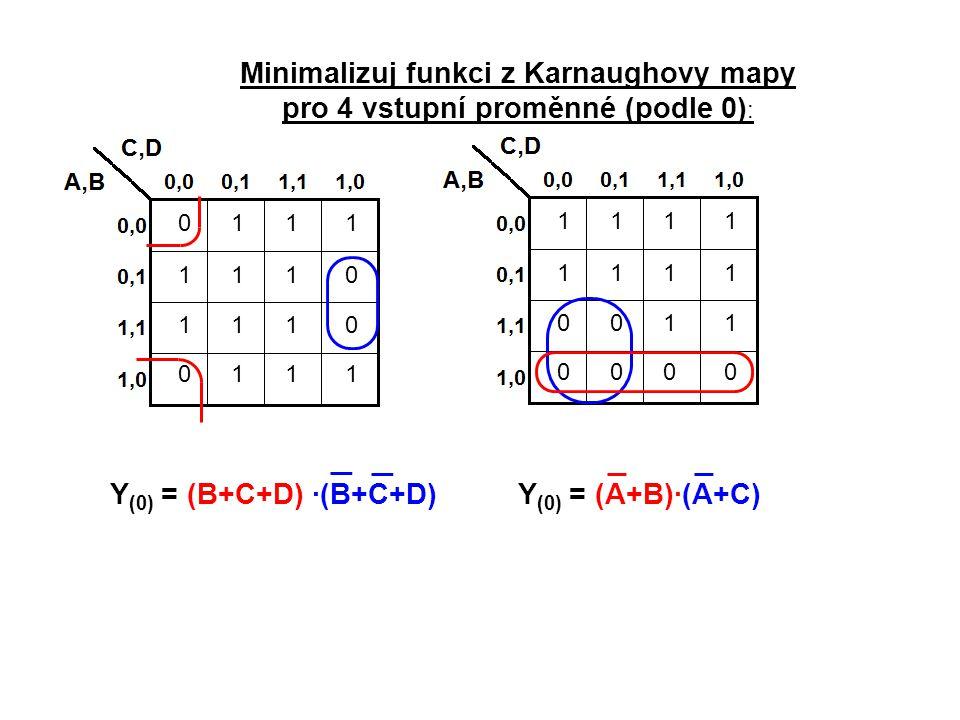 1111 1111 0011 0000 0111 1110 1110 0111 Minimalizuj funkci z Karnaughovy mapy pro 4 vstupní proměnné (podle 0) : Y (0) = (B+C+D) ·(B+C+D)Y (0) = (A+B)