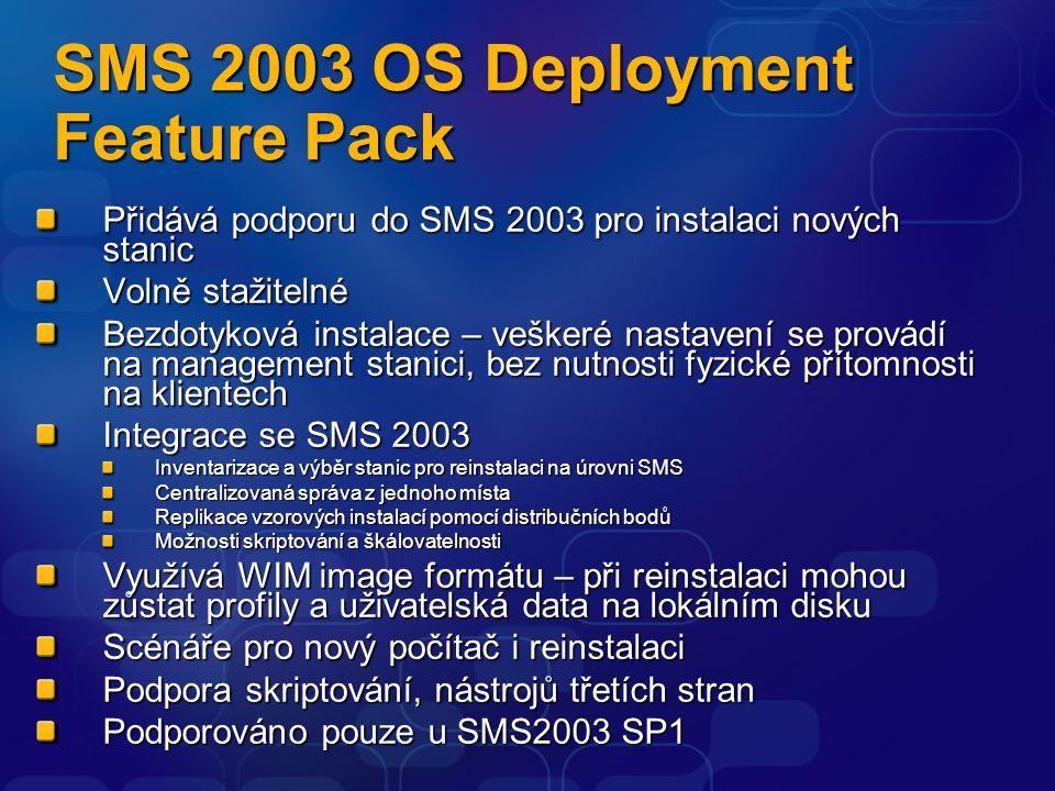 SMS 2003 OS Deployment Feature Pack Přidává podporu do SMS 2003 pro instalaci nových stanic Volně stažitelné Bezdotyková instalace – veškeré nastavení
