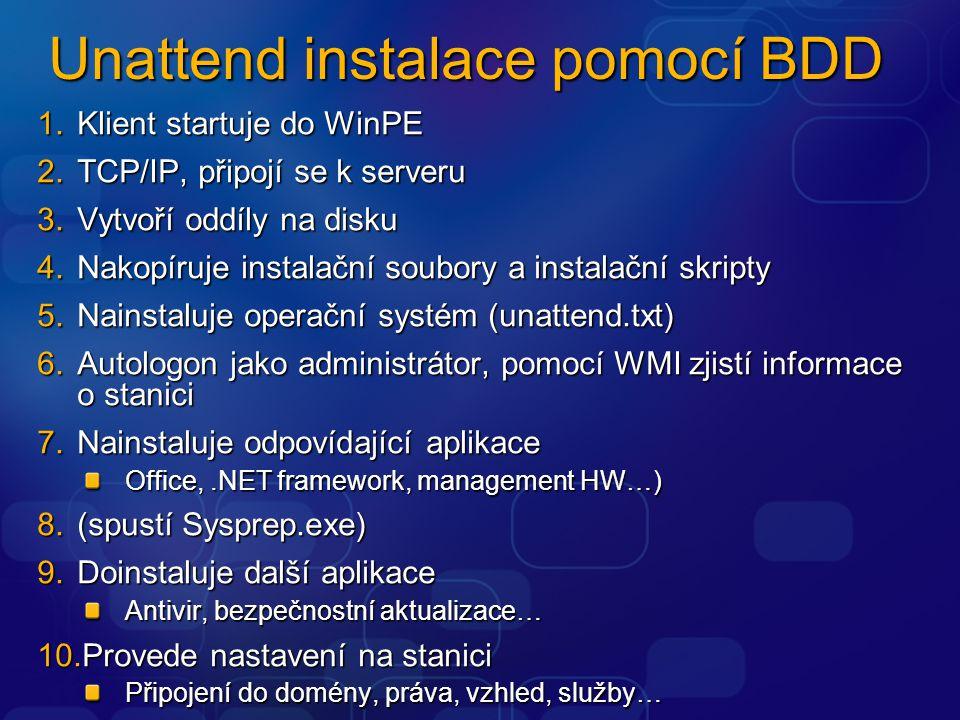 Unattend instalace pomocí BDD 1.Klient startuje do WinPE 2.TCP/IP, připojí se k serveru 3.Vytvoří oddíly na disku 4.Nakopíruje instalační soubory a in