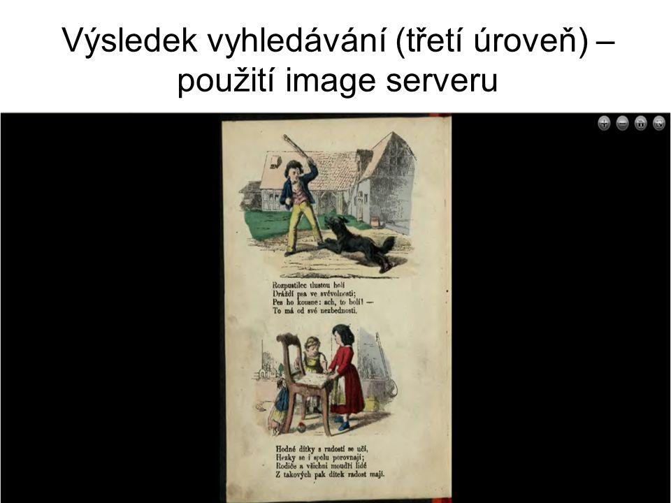 Výsledek vyhledávání (třetí úroveň) – použití image serveru