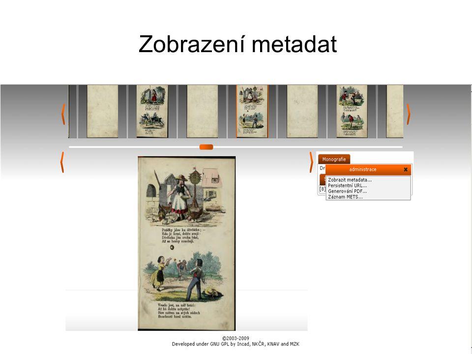 Zobrazení metadat