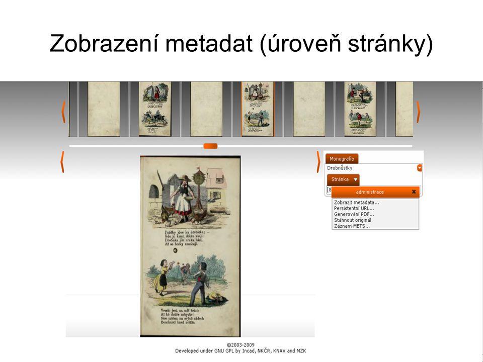 Zobrazení metadat (úroveň stránky)