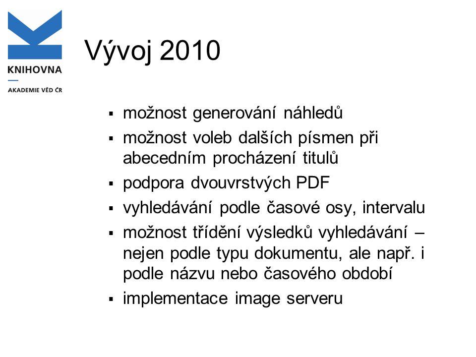 Vývoj 2010  možnost generování náhledů  možnost voleb dalších písmen při abecedním procházení titulů  podpora dvouvrstvých PDF  vyhledávání podle