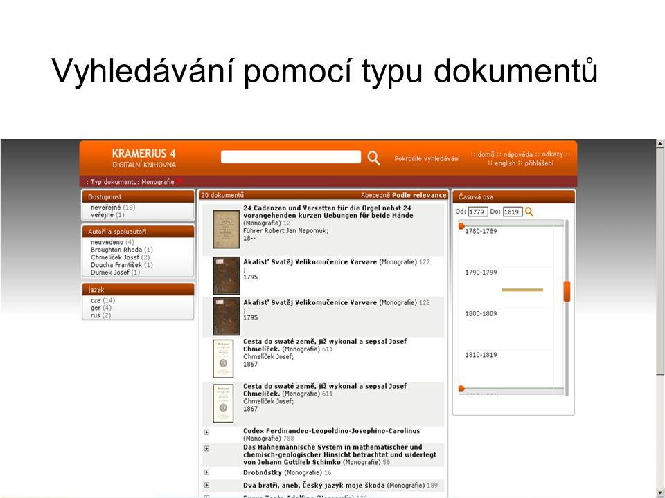 Vyhledávání pomocí typu dokumentů