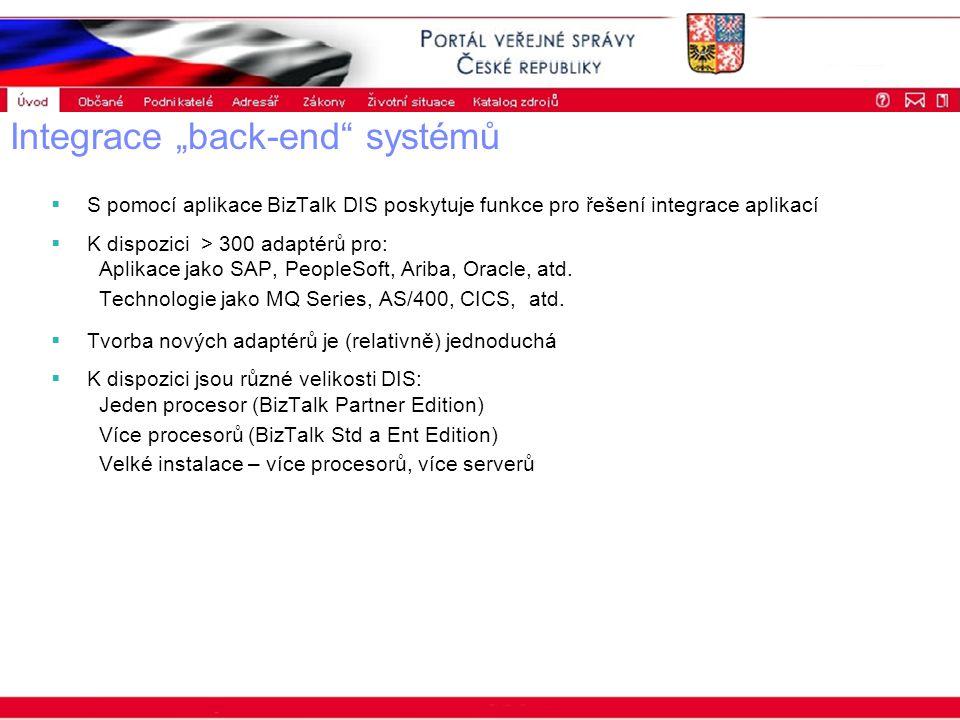 """Portál veřejné správy © 2002 IBM Corporation ISSS 2003 Integrace """"back-end systémů  S pomocí aplikace BizTalk DIS poskytuje funkce pro řešení integrace aplikací  K dispozici > 300 adaptérů pro: Aplikace jako SAP, PeopleSoft, Ariba, Oracle, atd."""