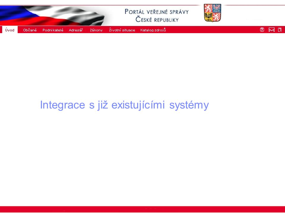 Portál veřejné správy © 2002 IBM Corporation ISSS 2003 Integrace s již existujícími systémy