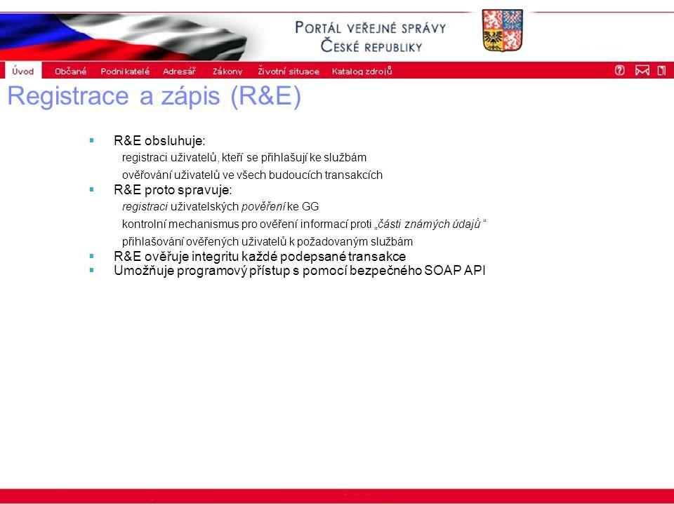"""Portál veřejné správy © 2002 IBM Corporation ISSS 2003 Registrace a zápis (R&E)  R&E obsluhuje: registraci uživatelů, kteří se přihlašují ke službám ověřování uživatelů ve všech budoucích transakcích  R&E proto spravuje: registraci uživatelských pověření ke GG kontrolní mechanismus pro ověření informací proti """"části známých údajů přihlašování ověřených uživatelů k požadovaným službám  R&E ověřuje integritu každé podepsané transakce  Umožňuje programový přístup s pomocí bezpečného SOAP API"""