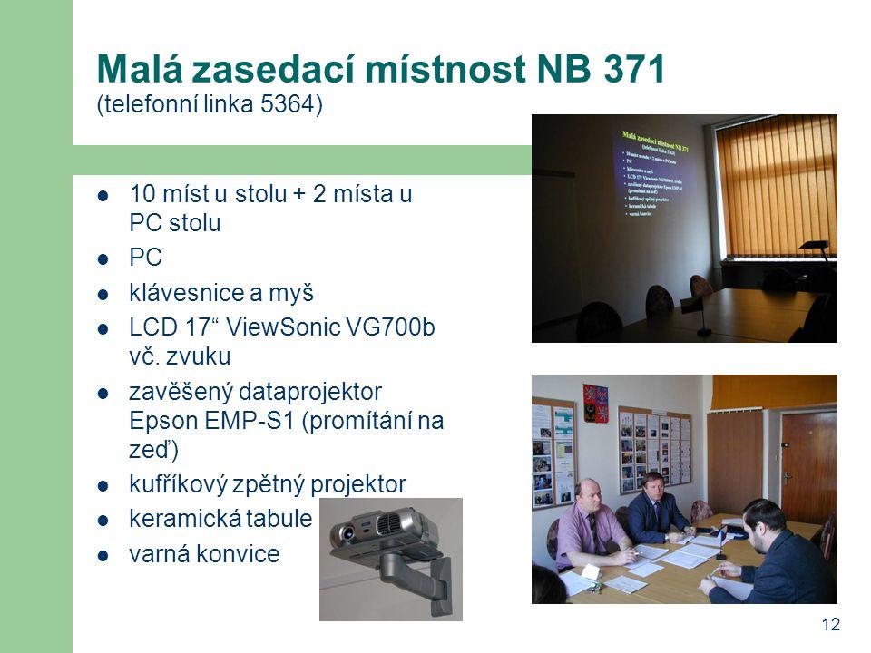 12 Malá zasedací místnost NB 371 (telefonní linka 5364) 10 míst u stolu + 2 místa u PC stolu PC klávesnice a myš LCD 17 ViewSonic VG700b vč.
