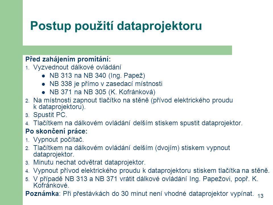 13 Postup použití dataprojektoru Před zahájením promítání: 1.