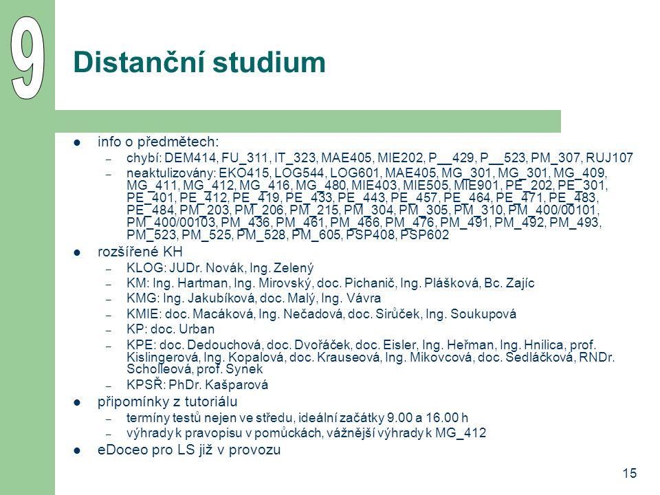 15 Distanční studium info o předmětech: – chybí: DEM414, FU_311, IT_323, MAE405, MIE202, P__429, P__523, PM_307, RUJ107 – neaktulizovány: EKO415, LOG544, LOG601, MAE405, MG_301, MG_301, MG_409, MG_411, MG_412, MG_416, MG_480, MIE403, MIE505, MIE901, PE_202, PE_301, PE_401, PE_412, PE_419, PE_433, PE_443, PE_457, PE_464, PE_471, PE_483, PE_484, PM_203, PM_206, PM_215, PM_304, PM_305, PM_310, PM_400/00101, PM_400/00103, PM_436, PM_461, PM_466, PM_476, PM_491, PM_492, PM_493, PM_523, PM_525, PM_528, PM_605, PSP408, PSP602 rozšířené KH – KLOG: JUDr.
