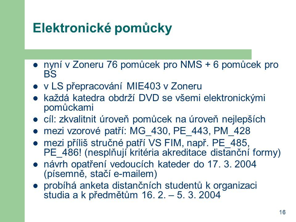 16 Elektronické pomůcky nyní v Zoneru 76 pomůcek pro NMS + 6 pomůcek pro BS v LS přepracování MIE403 v Zoneru každá katedra obdrží DVD se všemi elektronickými pomůckami cíl: zkvalitnit úroveň pomůcek na úroveň nejlepších mezi vzorové patří: MG_430, PE_443, PM_428 mezi příliš stručné patří VS FIM, např.