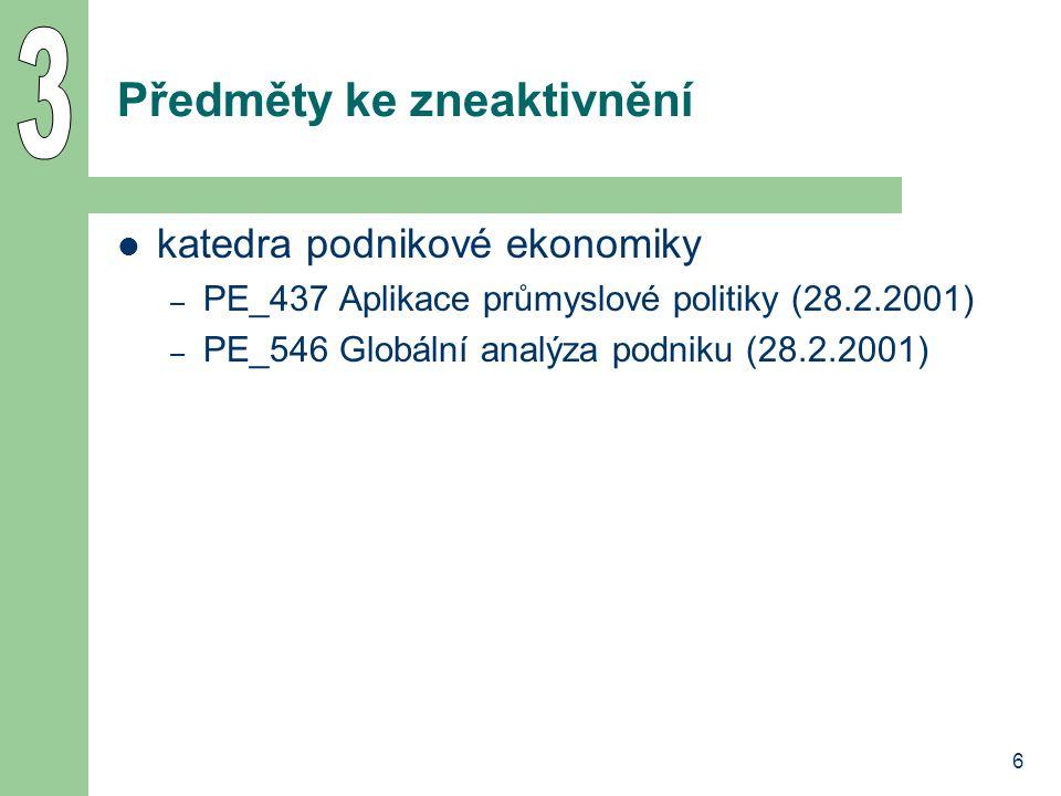 6 Předměty ke zneaktivnění katedra podnikové ekonomiky – PE_437 Aplikace průmyslové politiky (28.2.2001) – PE_546 Globální analýza podniku (28.2.2001)