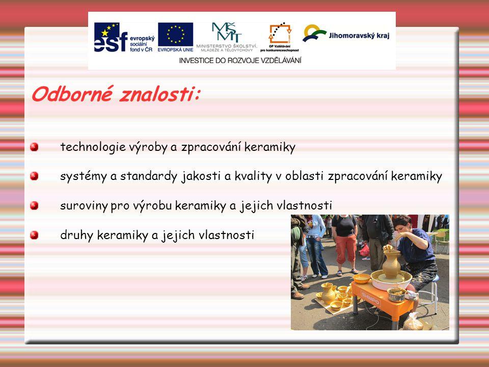 Odborné znalosti: technologie výroby a zpracování keramiky systémy a standardy jakosti a kvality v oblasti zpracování keramiky suroviny pro výrobu keramiky a jejich vlastnosti druhy keramiky a jejich vlastnosti