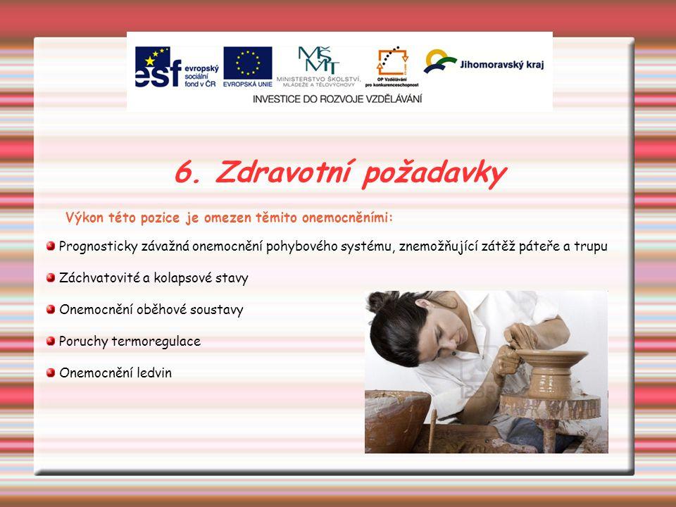 6. Zdravotní požadavky Výkon této pozice je omezen těmito onemocněními: Prognosticky závažná onemocnění pohybového systému, znemožňující zátěž páteře