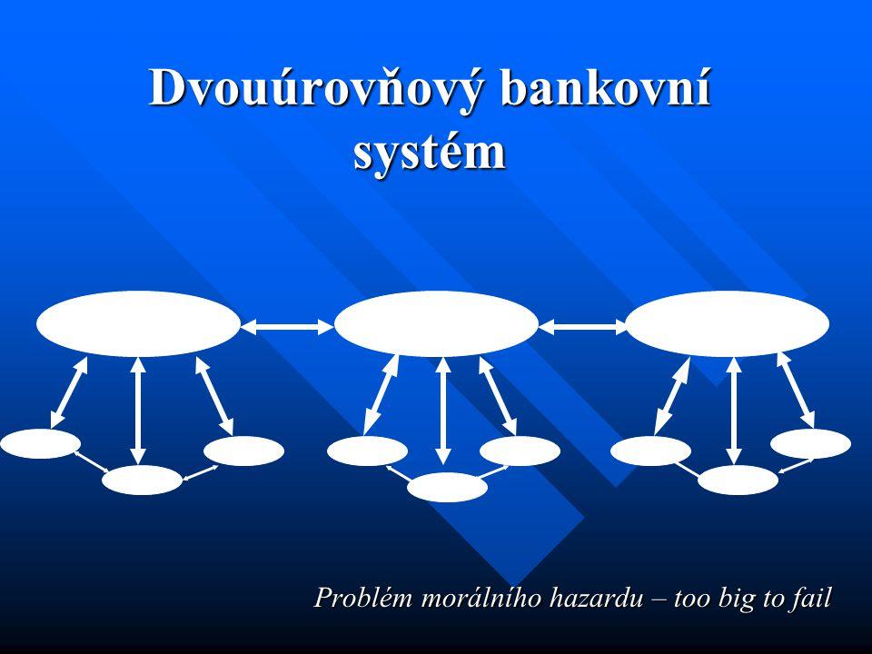 Dvouúrovňový bankovní systém Problém morálního hazardu – too big to fail