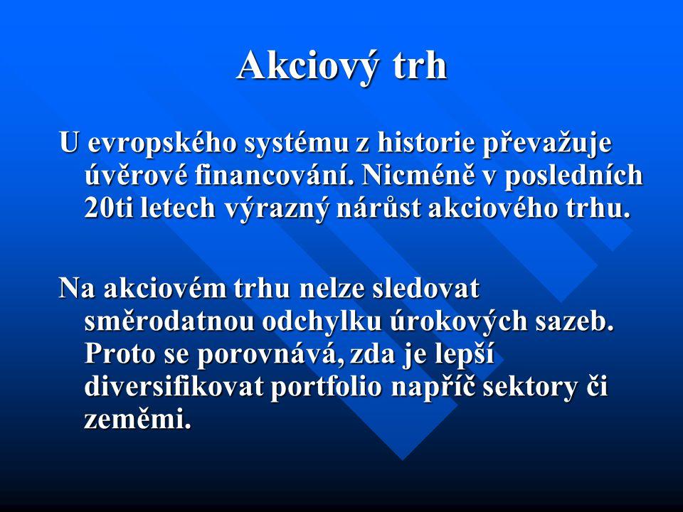 Akciový trh U evropského systému z historie převažuje úvěrové financování.