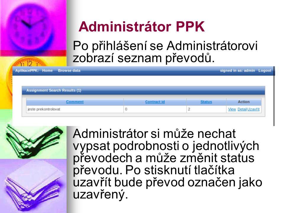 Administrátor PPK Po přihlášení se Administrátorovi zobrazí seznam převodů.