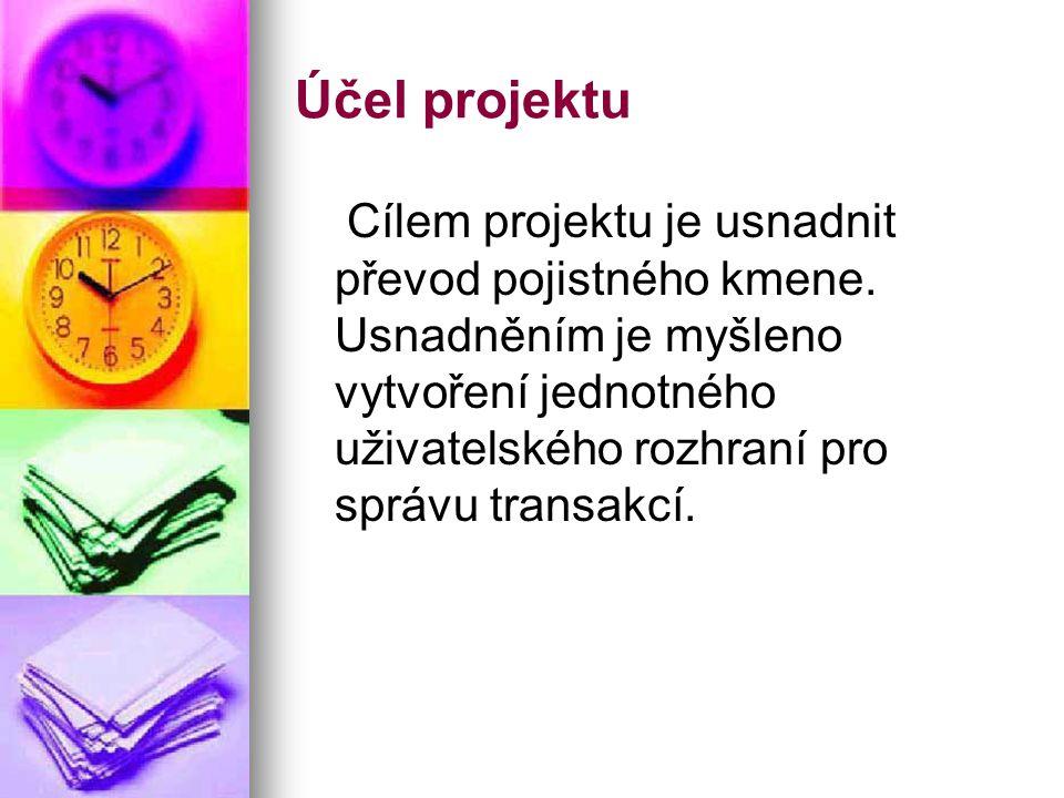 Účel projektu Cílem projektu je usnadnit převod pojistného kmene.
