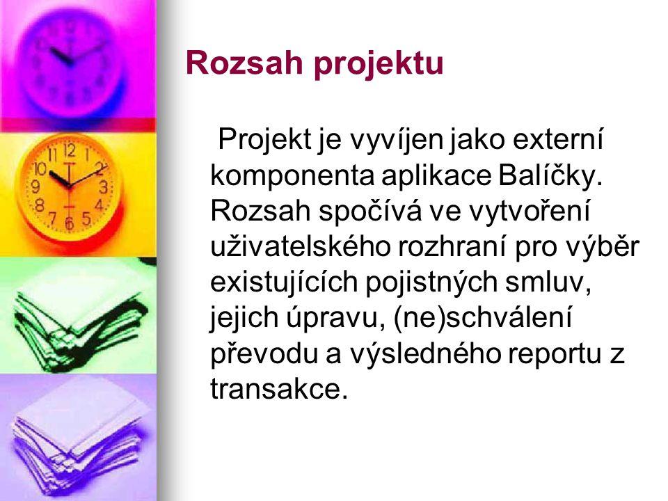 Rozsah projektu Projekt je vyvíjen jako externí komponenta aplikace Balíčky.