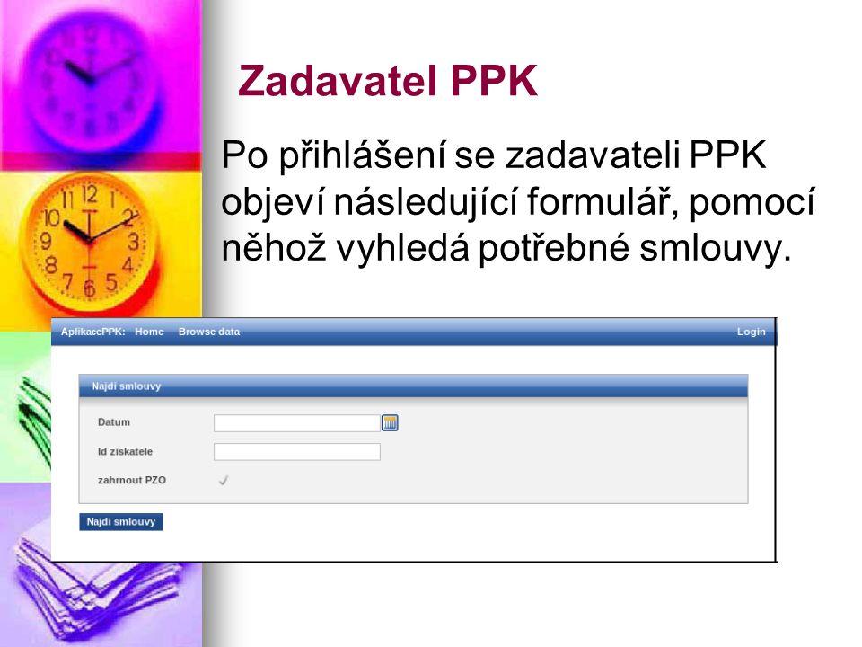 Zadavatel PPK Po přihlášení se zadavateli PPK objeví následující formulář, pomocí něhož vyhledá potřebné smlouvy.