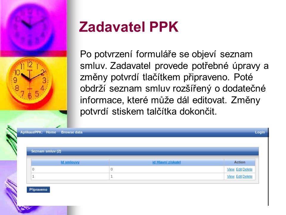 Zadavatel PPK Po potvrzení formuláře se objeví seznam smluv.