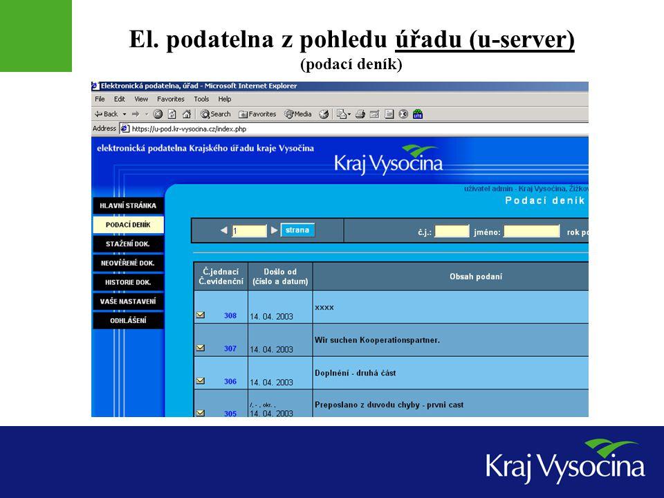 El. podatelna z pohledu úřadu (u-server) (podací deník)