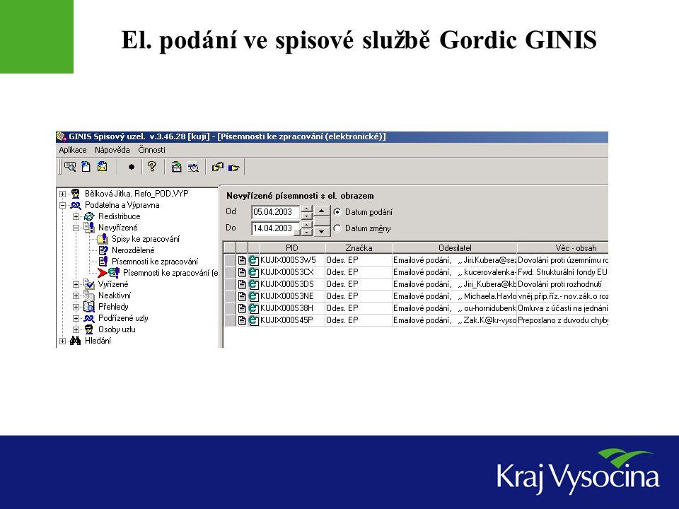 El. podání ve spisové službě Gordic GINIS