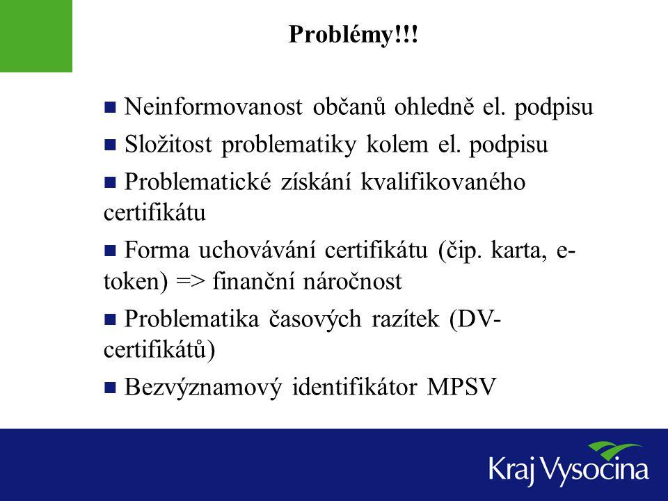 Neinformovanost občanů ohledně el. podpisu Složitost problematiky kolem el.