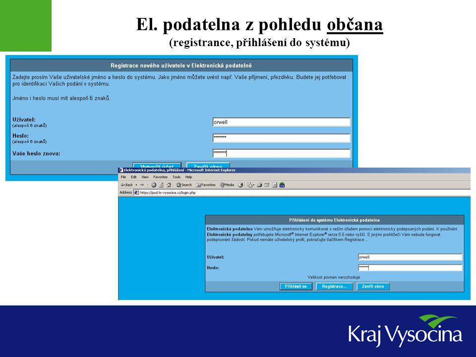 El. podatelna z pohledu občana (registrance, přihlášení do systému)